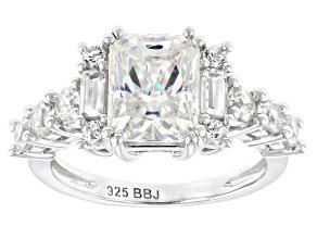 White Fabulite Strontium Titanate And White Zircon rhodium over silver ring 4.44ctw