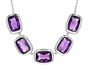 Purple Amethyst Sterling Silver Necklace 26.84ctw