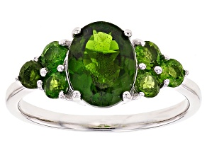 Green Chrome Diopside Sterling Silver Ring 2.17ctw