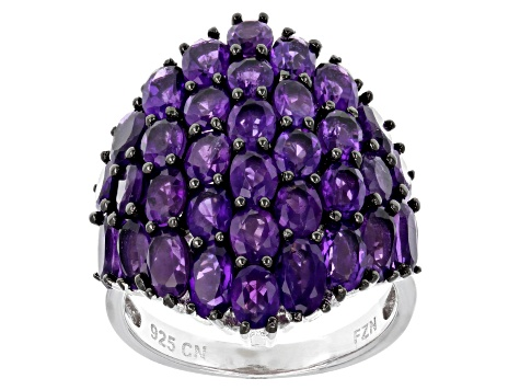 Purple Amethyst Sterling Silver Ring 5.66ctw