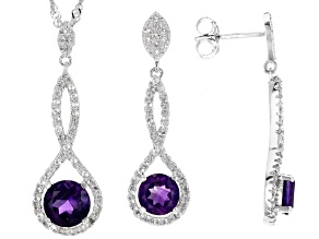 Purple Amethyst Silver Pendant And Earring Set 3.74ctw