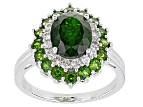 Green Chrome Diopside Rhodium Over Sterling Silver Ring 4.47ctw