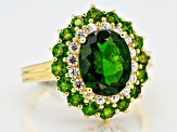 Green chrome diopside 18k gold over silver ring 4.51ctw
