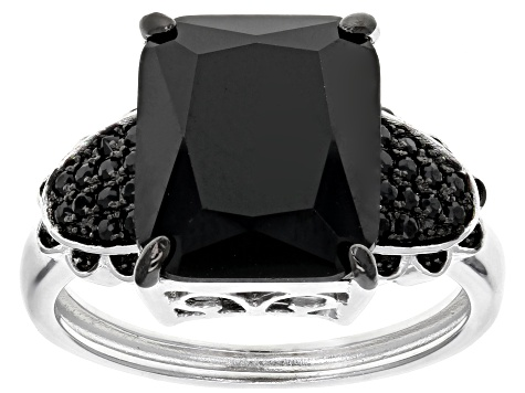 Black Spinel Sterling Silver Ring 4.88ctw