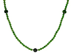 Green chrome diopside 18k Yellow Gold Over Silver Bead Necklace.