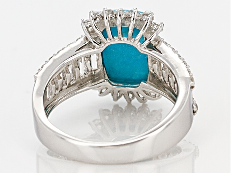Blue Sleeping Beauty Turquoise sterling silver ring 2.42ctw