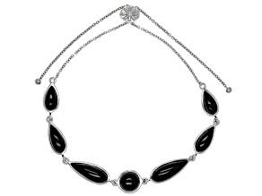 Black spinel sterling silver bolo bracelet