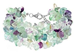 Multi Color Fluorite Sterling Silver Bracelet