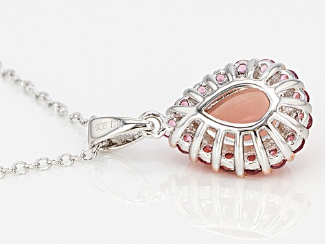 Pink Peruvian opal sterling silver pendant with chain .52ctw