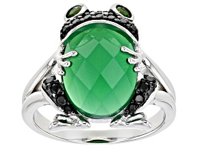Green Onyx Rhodium Over Sterling Silver Frog Ring .42ctw