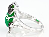 Green Onyx Sterling Silver Frog Ring .42ctw