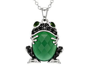 Green Onyx Rhodium Over Sterling Silver Frog Pendant With Chain .42ctw