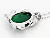 Green Onyx Sterling Silver Frog Pendant With Chain .42ctw