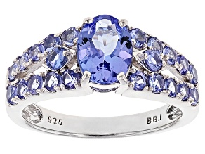 Blue tanzanite sterling silver ring 1.78ctw