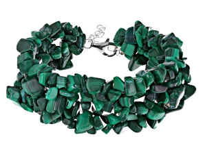 Green malachite sterling silver bracelet
