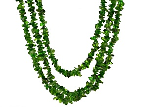 Green chrome diopside chip sterling silver bolo necklace