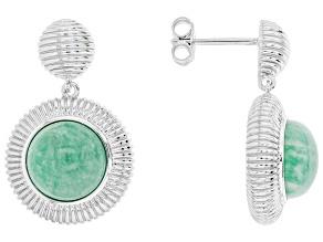 Teal green Amazonite Sterling Silver Earrings