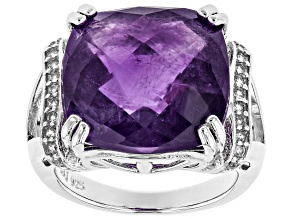 Purple amethyst rhodium over sterling silver ring 15.52ctw