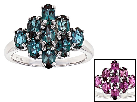 Blue lab created alexandrite sterling silver ring 1.76ctw