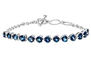 London blue topaz sterling silver bracelet 6.18ctw