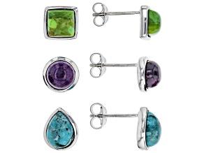 Blue turquoise sterling silver earrings set