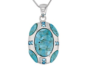 Blue turquoise rhodium over sterling silver pendant with chain .27ctw