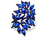 Blue spinel sterling silver ring 4.68ctw