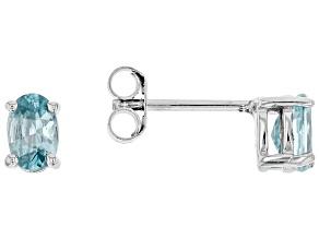 Blue Zircon Sterling Silver Earrings 1.12ctw