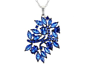 Blue lab spinel rhodium over sterling silver pendant with chain 4.50ctw