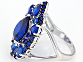 Blue lab created spinel rhodium over silver ring 7.76ctw