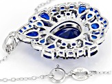 Blue lab spinel rhodium over sterling silver pendant with chain 7.55ctw