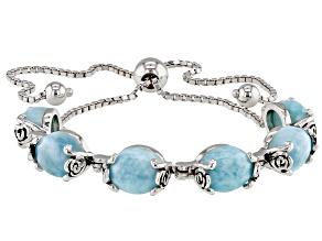 Blue Larimar rhodium over silver bolo bracelet