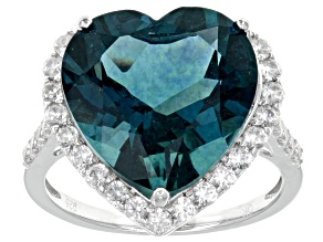 Blue Teal Fluorite Sterling Silver Ring 11.99ctw