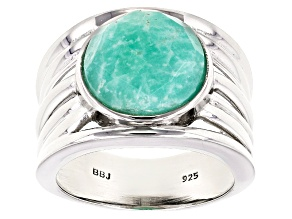 Blue amazonite sterling silver solitaire ring