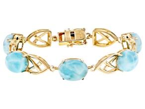 Blue Larimar 18k Yellow Gold Over Sterling Silver Bracelet