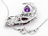 Purple Amethyst Sterling Silver Parrot Pendant With Chain 2.39ctw