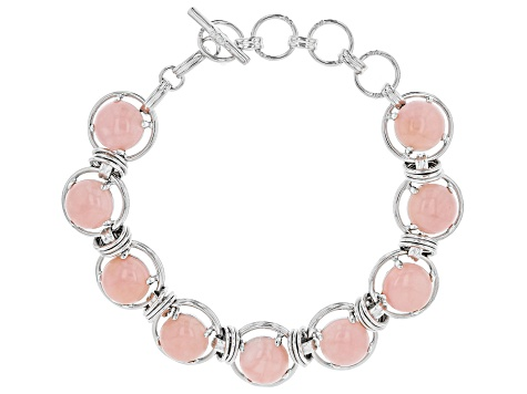 Pink Peruvian opal rhodium over sterling silver bracelet