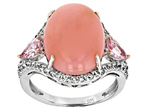 Pink Peruvian opal sterling silver ring 1.69ctw