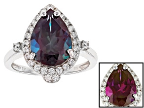 Blue Lab Created Alexandrite Silver Ring 5.19ctw