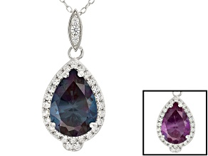 Color Change Lab Created Alexandrite Silver Pendant With Chain 5.19ctw