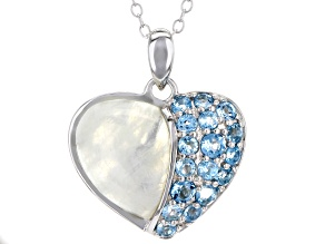 White rainbow moonstone silver pendant with chain .68ctw
