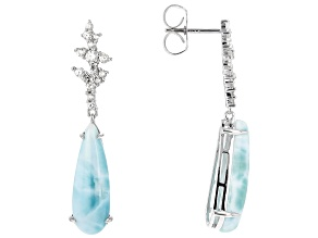 Blue larimar rhodium over sterling silver dangle earrings .71ctw