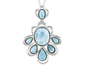 Blue larimar sterling silver pendant with chain