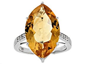 Orange citrine rhodium over silver ring 7.44ctw