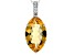 Yellow citrine rhodium over silver pendant with chain 7.34ctw