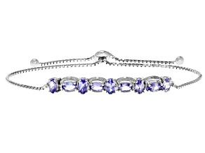Blue tanzanite sterling silver bolo bracelet 1.76ctw