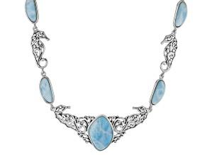Blue larimar sterling silver seahorse necklace