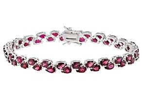 Purple raspberry rhodolite sterling silver bracelet 17.47ctw