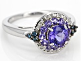 Blue tanzanite rhodium over sterling silver ring 1.29ctw