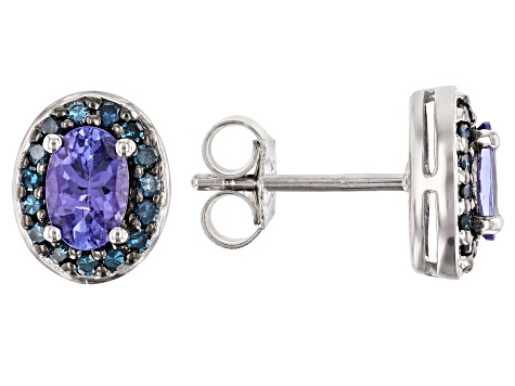 Blue Tanzanite Rhodium Over Silver Earrings .96ctw